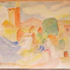 Arte: JOAN COMMELERAN (1902-1992) ACUARELA PUEBLO Y PERSONAJES, 1938. 29,5X21CM. Lote 108871995