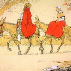 Arte: PAREJA DE CAMPESINOS MONTADOS EN BURROS. ACUARELA SOBRE PAPEL. ESPAÑA. XIX-XX. Lote 108897623