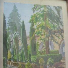 Arte: BONITA ACUARELA DE PAISAJE DE LOS JARDINES DEL ALCAZAR DE SEVILLA. DE CARTAYA , 1955 . EN MARCO. Lote 108994443