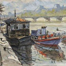 Arte: REMOLCADORES DE SENA. ACUARELA SOBRE PAPEL. A. GUERIN. CIRCA 1940.. Lote 109010251