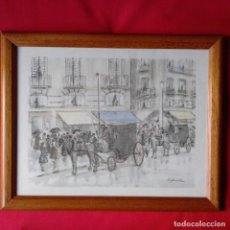 Arte: ACUARELA JUAN ESPLANDIU, CARROZAS MADRID. ENMARCADA CON CRISTAL. Lote 109426495