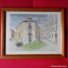 Arte: ACUARELA JUAN ESPLANDIU, PLAZA DEL ALAMILLO MADRID. ENMARCADA CON CRISTAL. Lote 109426511