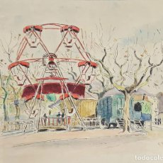 Arte: NORIA EN UN PARQUE DE PARÍS. ACUARELA SOBRE PAPEL. A. GUERIN. CIRCA 1940. . Lote 109437759