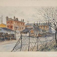 Arte: CALLE DE PARÍS. ACUARELA SOBRE PAPEL. A. GUERIN. FRANCIA. CIRCA 1940. . Lote 109440955
