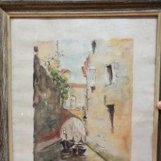 Arte: ACUARELA 1956 PINTOR T.BARCO TITULO EL PICCOLO CANAL DE VENECIA. Lote 109470435