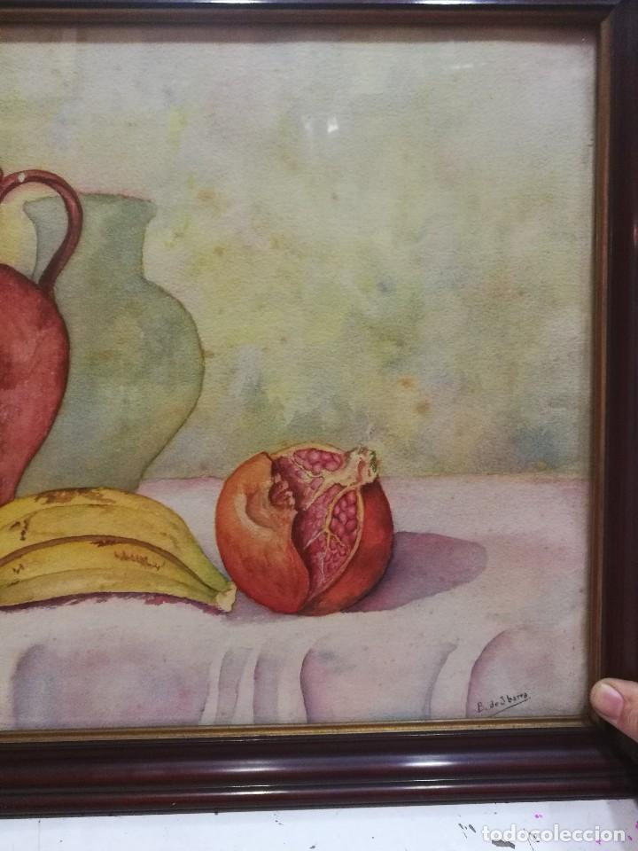 Arte: Acuarela firmada B.de Ibarra.bodegon de frutas.epoca mediados del siglo xx - Foto 7 - 109481139