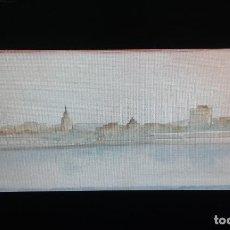 Arte: MALAGA DESDE EL MUELLE 1. ACUARELA SOBRE PAPEL.. Lote 110067403