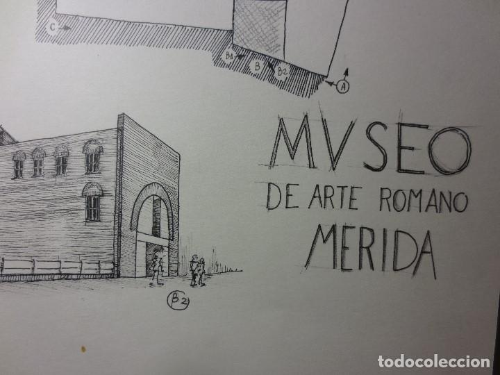 Arte: PLANOS MUSEO ARTE ROMANO MERIDA DIBUJO FIRMA LEIVA FACHADA ANTIGUO ORIGINAL PLUMILLA - Foto 7 - 110117515