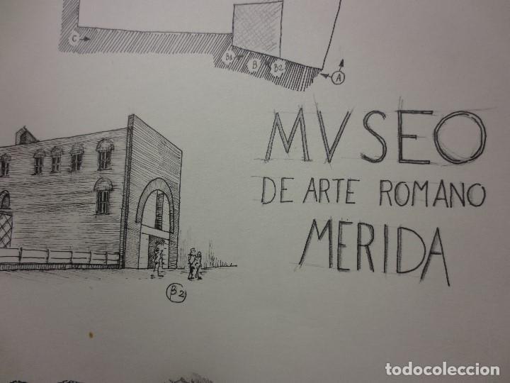 Arte: PLANOS MUSEO ARTE ROMANO MERIDA DIBUJO FIRMA LEIVA FACHADA ANTIGUO ORIGINAL PLUMILLA - Foto 9 - 110117515