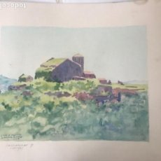 Arte: ACUARELA DE J. GASPAR ROMERO 1945 S. PERE DE CASERRES.. Lote 110463571