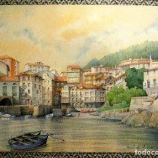 Arte: ACUARELA ORIGINAL, PUERTO DE MUNDAKA, VIZCAYA.. Lote 110466839