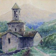 Arte: IGLESIA DE CAMPRODON. ACUARELA SOBRE PAPEL. FIRMADO SOLER. ESPAÑA. 1917. Lote 110556495
