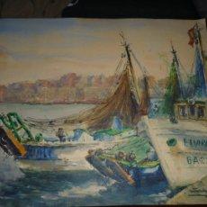 Arte: SALGADO -BARCOS DE PESCA EN PUERTO---ACUARELA ---1968---- 56 CM X 45 CM . Lote 110683367