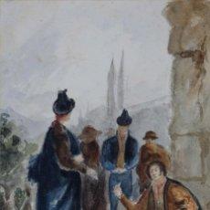 Arte: GOUACHE Y ACUARELA SOBRE PAPEL ESCENA COSTUMBRISTA ESCUAL ANDALUZA CIRCA 1830. Lote 110733727