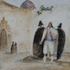Art: GOUACHE Y ACUARELA SOBRE PAPEL PERSONAJES DE LA ÉPOCA ESCUELA ANDALUZA CIRCA 1830. Lote 110735127