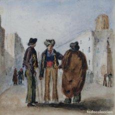Arte: GOUACHE Y ACUARELA SOBRE PAPEL ESCENA COSTUMBRISTA ESCUELA ANDALUZA CIRCA 1830. Lote 110735139