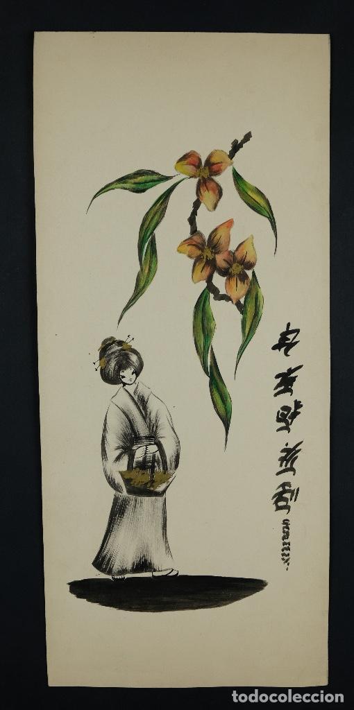 Arte: Acuarela sobre papel Gueixa con decoración floral escuela oriental mediados siglo XX - Foto 2 - 110736407