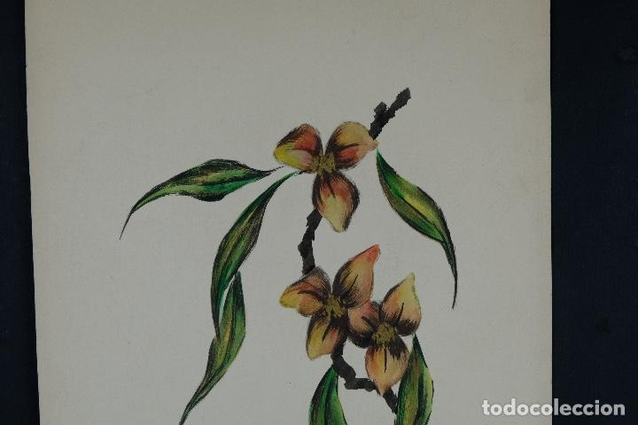 Arte: Acuarela sobre papel Gueixa con decoración floral escuela oriental mediados siglo XX - Foto 3 - 110736407