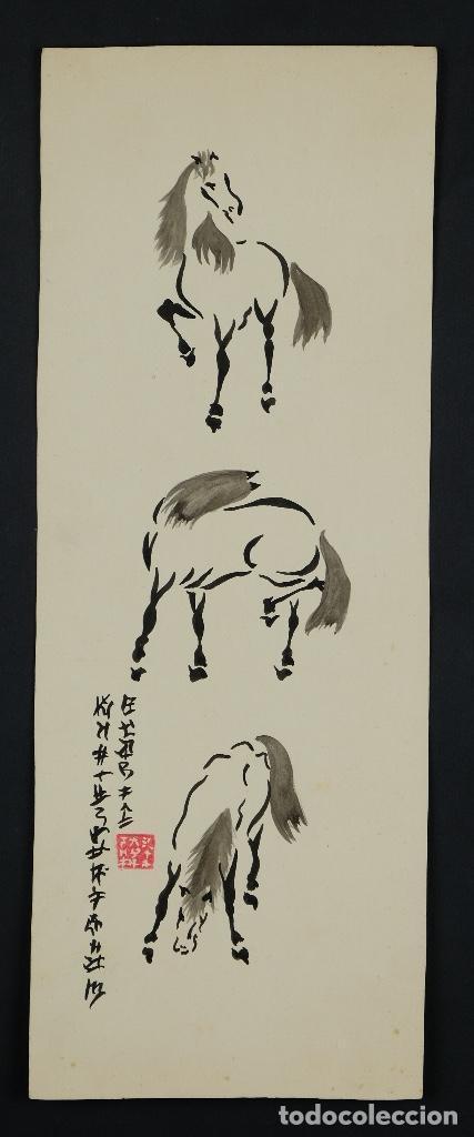 Arte: Acuarela y tinta sobre papel Tres caballos Escuela china mediados siglo XX - Foto 2 - 110736435