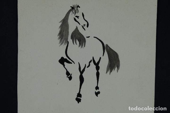 Arte: Acuarela y tinta sobre papel Tres caballos Escuela china mediados siglo XX - Foto 3 - 110736435