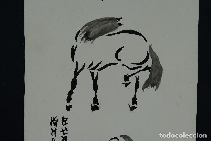 Arte: Acuarela y tinta sobre papel Tres caballos Escuela china mediados siglo XX - Foto 4 - 110736435