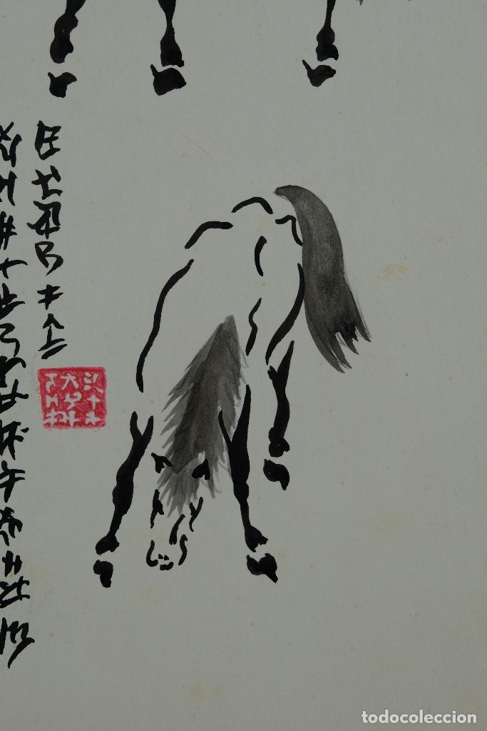 Arte: Acuarela y tinta sobre papel Tres caballos Escuela china mediados siglo XX - Foto 5 - 110736435