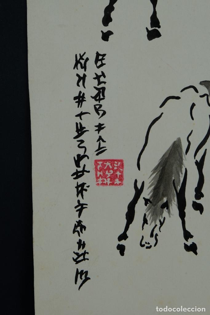 Arte: Acuarela y tinta sobre papel Tres caballos Escuela china mediados siglo XX - Foto 6 - 110736435