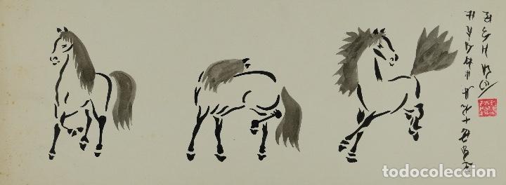 ACUARELA Y TINTA SOBRE PAPEL TRES CABALLOS ESCUELA CHINA MEDIADOS SIGLO XX (Arte - Acuarelas - Contemporáneas siglo XX)
