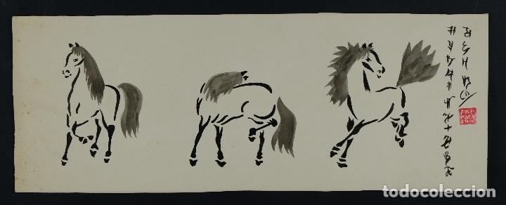 Arte: Acuarela y tinta sobre papel Tres caballos Escuela china mediados siglo XX - Foto 2 - 110736867