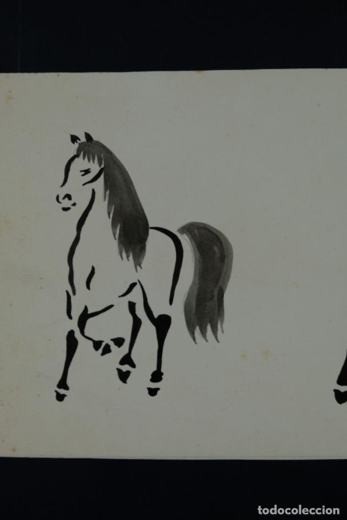 Arte: Acuarela y tinta sobre papel Tres caballos Escuela china mediados siglo XX - Foto 3 - 110736867