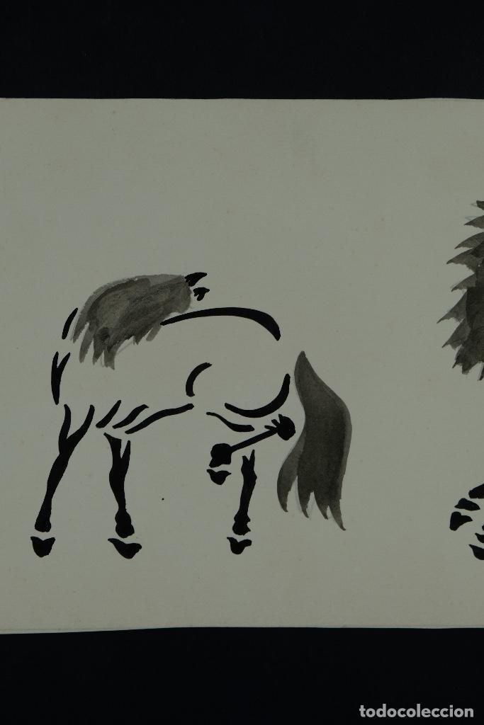 Arte: Acuarela y tinta sobre papel Tres caballos Escuela china mediados siglo XX - Foto 4 - 110736867