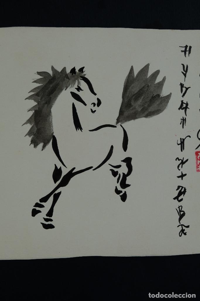 Arte: Acuarela y tinta sobre papel Tres caballos Escuela china mediados siglo XX - Foto 5 - 110736867