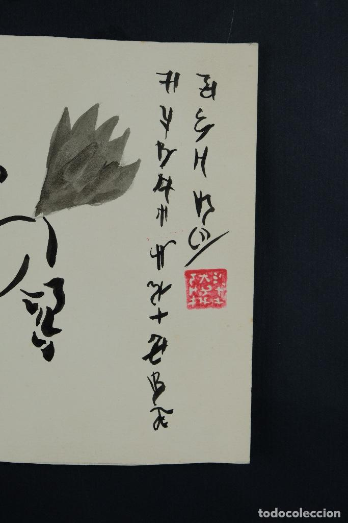 Arte: Acuarela y tinta sobre papel Tres caballos Escuela china mediados siglo XX - Foto 6 - 110736867