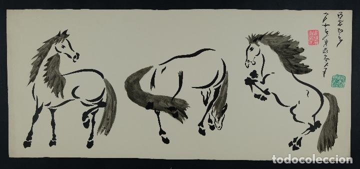 Arte: Acuarela y tinta sobre papel Tres caballos Escuela china mediados siglo XX - Foto 2 - 110736879
