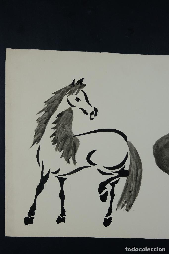 Arte: Acuarela y tinta sobre papel Tres caballos Escuela china mediados siglo XX - Foto 3 - 110736879
