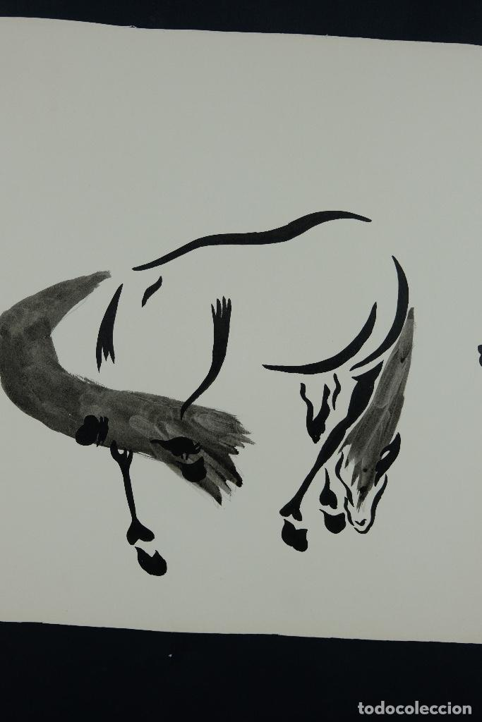 Arte: Acuarela y tinta sobre papel Tres caballos Escuela china mediados siglo XX - Foto 4 - 110736879