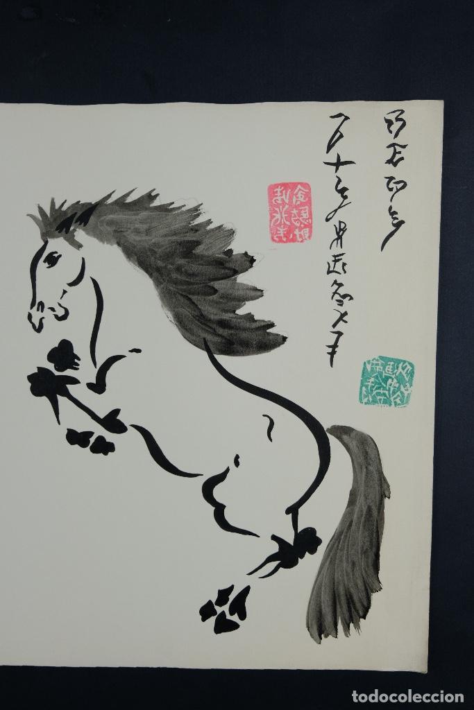 Arte: Acuarela y tinta sobre papel Tres caballos Escuela china mediados siglo XX - Foto 5 - 110736879