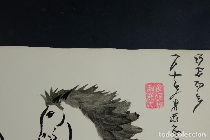 Arte: Acuarela y tinta sobre papel Tres caballos Escuela china mediados siglo XX - Foto 6 - 110736879