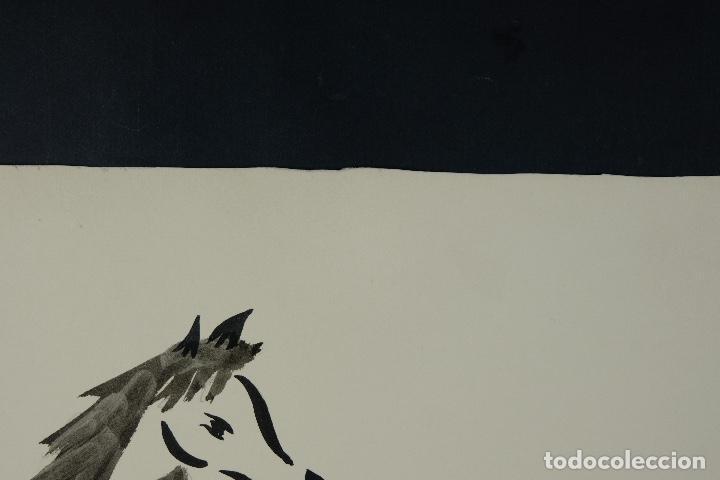 Arte: Acuarela y tinta sobre papel Tres caballos Escuela china mediados siglo XX - Foto 8 - 110736879