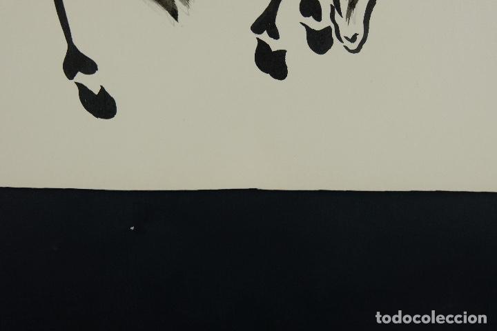 Arte: Acuarela y tinta sobre papel Tres caballos Escuela china mediados siglo XX - Foto 9 - 110736879