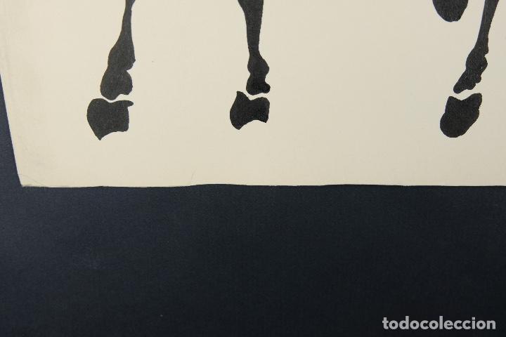 Arte: Acuarela y tinta sobre papel Tres caballos Escuela china mediados siglo XX - Foto 10 - 110736879