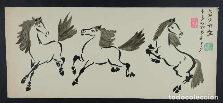 Arte: Acuarela y tinta sobre papel Tres caballos Escuela china mediados siglo XX - Foto 2 - 110736891
