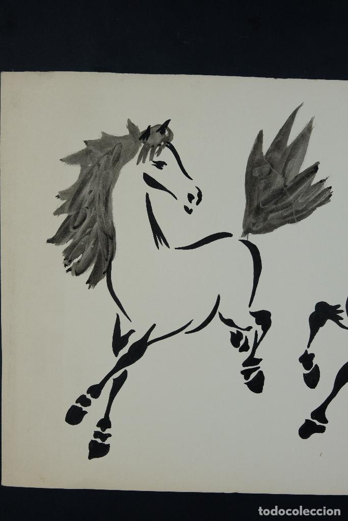 Arte: Acuarela y tinta sobre papel Tres caballos Escuela china mediados siglo XX - Foto 3 - 110736891