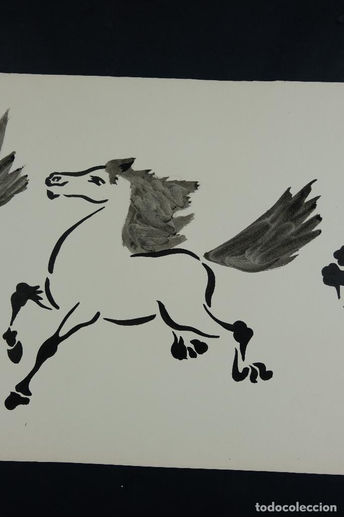 Arte: Acuarela y tinta sobre papel Tres caballos Escuela china mediados siglo XX - Foto 4 - 110736891