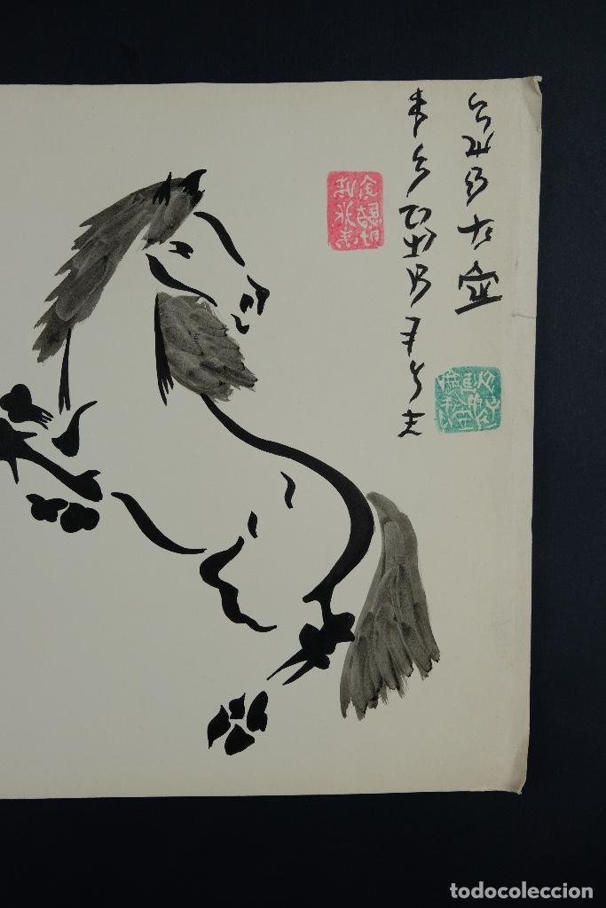 Arte: Acuarela y tinta sobre papel Tres caballos Escuela china mediados siglo XX - Foto 5 - 110736891