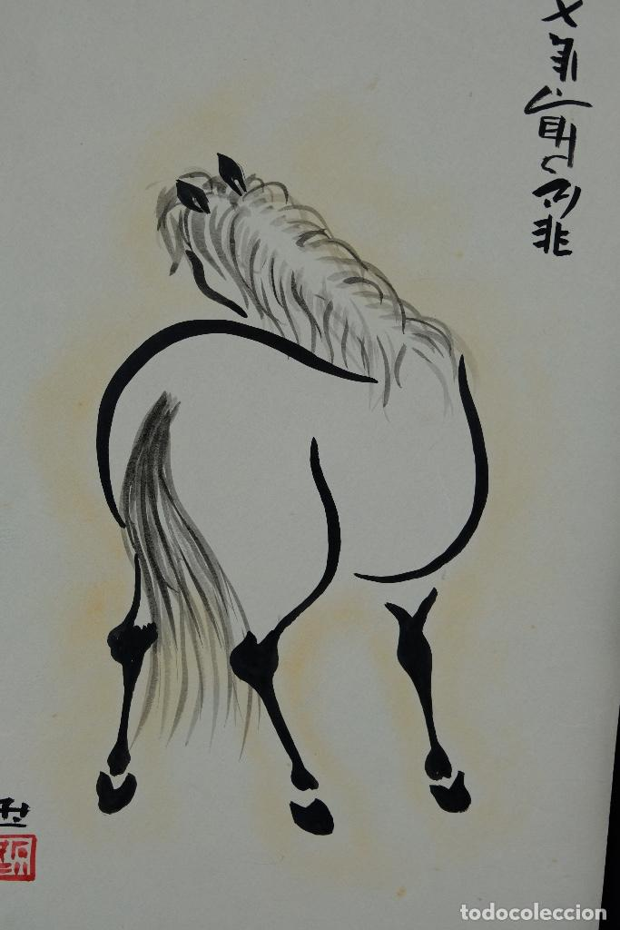 Arte: Tres dibujos a tinta y acuarela sobre papel Caballos Escuela china mediados siglo XX - Foto 2 - 110736895