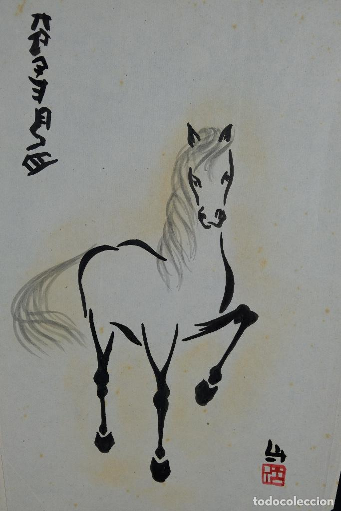Arte: Tres dibujos a tinta y acuarela sobre papel Caballos Escuela china mediados siglo XX - Foto 4 - 110736895