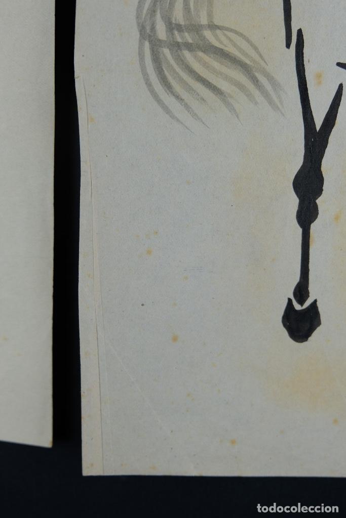 Arte: Tres dibujos a tinta y acuarela sobre papel Caballos Escuela china mediados siglo XX - Foto 6 - 110736895