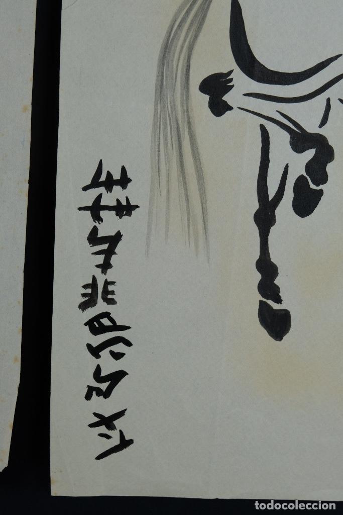 Arte: Tres dibujos a tinta y acuarela sobre papel Caballos Escuela china mediados siglo XX - Foto 10 - 110736895