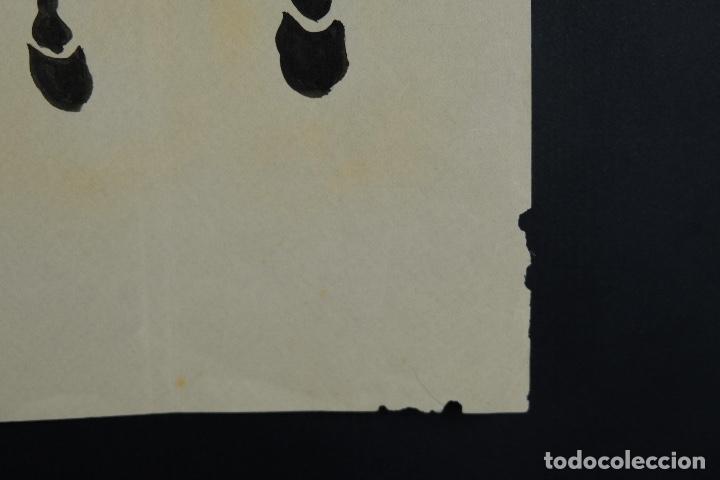 Arte: Tres dibujos a tinta y acuarela sobre papel Caballos Escuela china mediados siglo XX - Foto 11 - 110736895